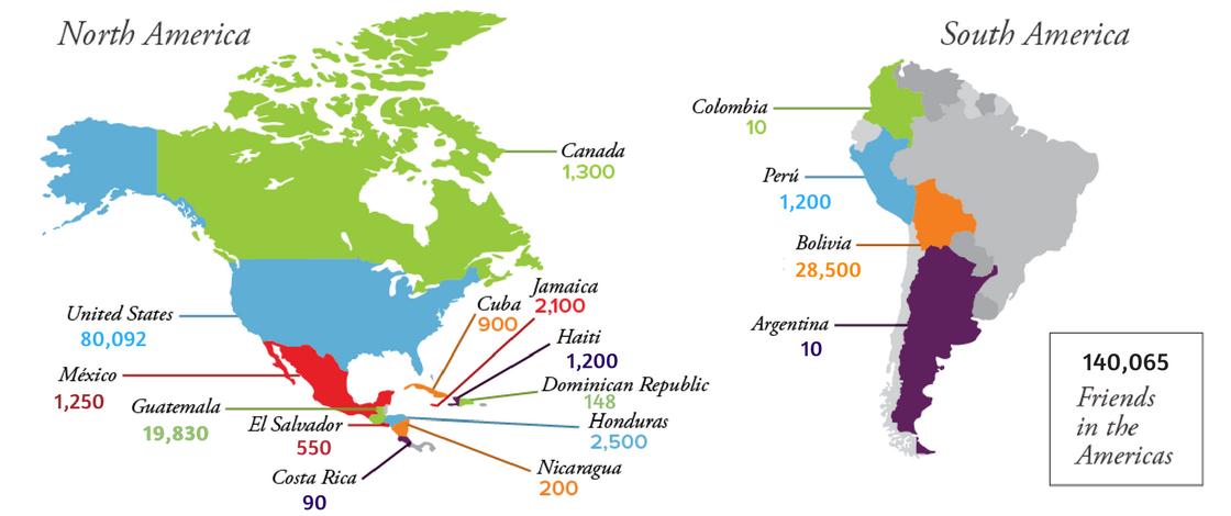 Map of Yearly Meetings - 132,990 Friends in the Americas